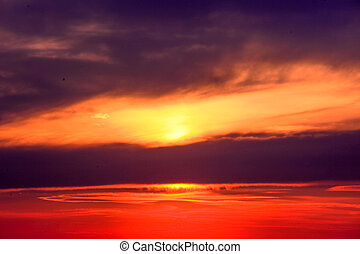 beautiful sunset sky with clouds