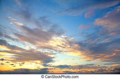 sunset sky - beautiful sunset sky with clouds