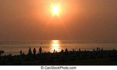 Beautiful Sunset on Mediterranean Sea Coastline