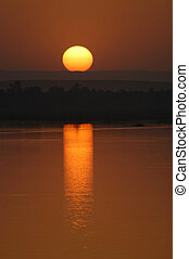 Beautiful sunset on the Nile river, Egypt
