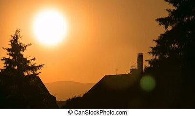 Beautiful sunset timelapse at Sabatini gardens near Royal palace in Madrid, Spain