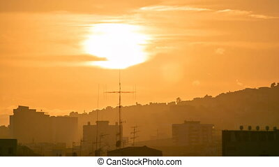 beautiful sunset timelapse in Barcelona, Spain