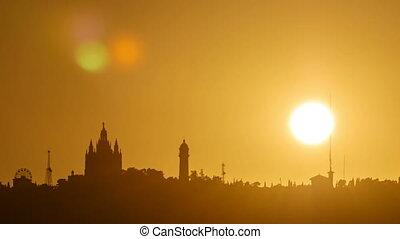 beautiful sunset timelapse on tibidabo in Barcelona, Spain