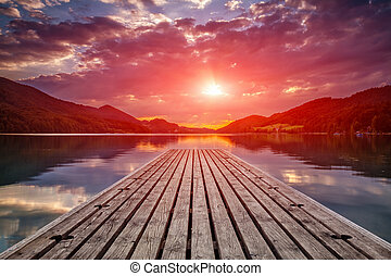 Beautiful sunset view from a wooden platform