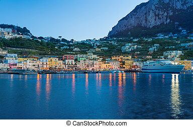 Beautiful sunset view of Marina Grande, Capri island, Italy