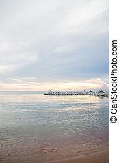 Beautiful sunset view of seashore