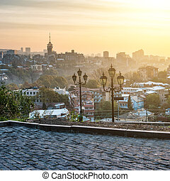beautiful sunset view of Tbilisi from Narikala Fortress