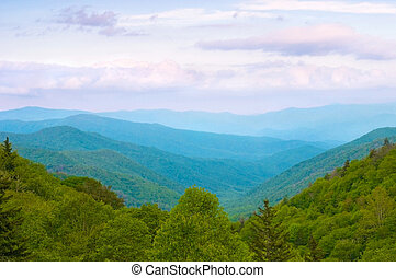 Smoky Mountains - Beautiful sunset view of the Smoky...