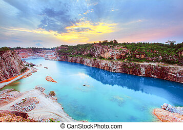 Beautiful sunset view over a lagoon