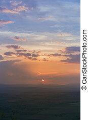 beautiful sunset with mountain