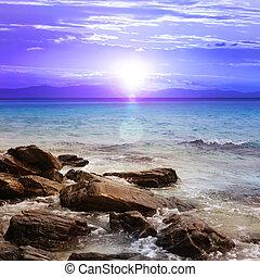 beautiful sunset with rocks