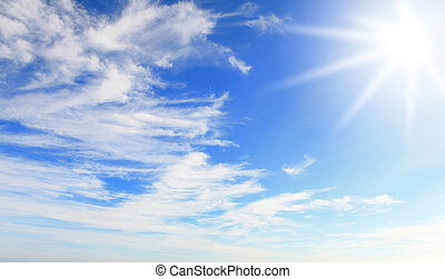 Sunshine with blue sky and white cloud