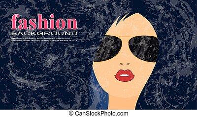 Beautiful super girl in sunglasses. vector illustration.