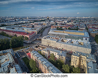 Beautiful super-wide angle aerial view of Kolomna district...