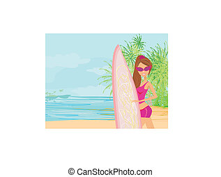 Beautiful surfer girl on a beach