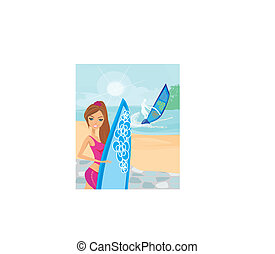 Beautiful surfer girl on a beach