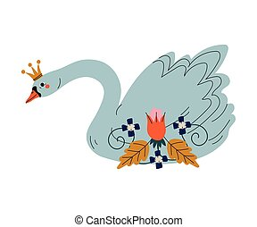 Beautiful Swan Princess with Golden Crown and Flowers, Lovely Fairytale Bird Vector Illustration