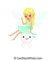 Beautiful sweet blonde Tooth Fairy girl sitting on a big tooth colorful cartoon character vector Illustration