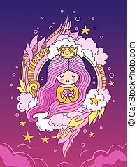 Beautiful sweet princess with crown and long pink hair.