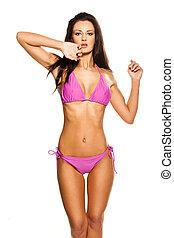 Beautiful swimwear fashion model