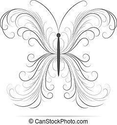 Beautiful swirl pattern in shape of a butterfly.