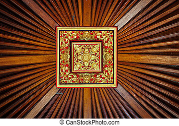 Beautiful, Symetrical, Hand Carved Wooden Ceiling Tile with Live Lizards