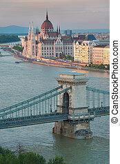 Beautiful Szechenyi Chain Bridge in Budapest Hungary and the Parliament