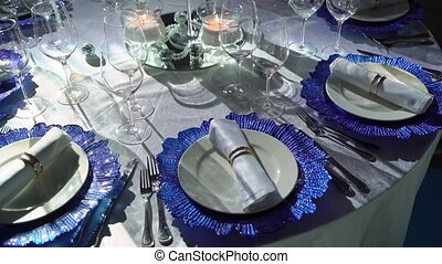 Beautiful table setting for Christmas party or New Year...