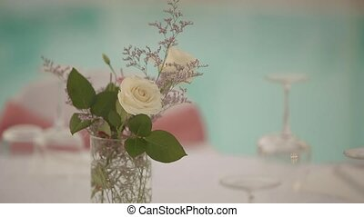 Beautiful table setting in pastel colors.