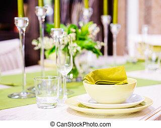 Beautiful table setting. Shallow DOF