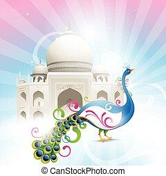 beautiful taj mahal with artistic vector peacock