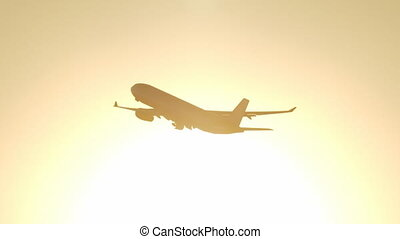 Long shot of beautiful airplane takeoff during sunset, no logos - ready for commercial use