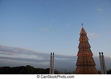 Beautiful tall Christmas tree in Lisbon (at sunset)