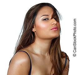 tanned latino woman