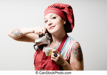 beautiful tattooed pinup cook girl with coffeepot