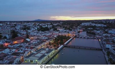 Beautiful Tavira by Gilao river from above, Algarve,...