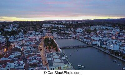 Beautiful Tavira by Gilao river from above, Algarve,...