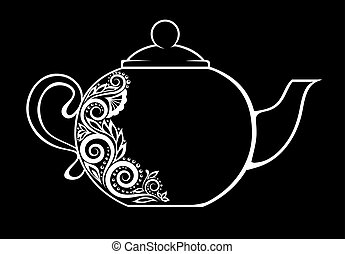 Beautiful teapot, decorated with black and white floral ornament isolated.