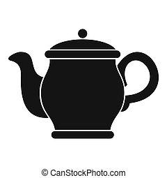Beautiful teapot icon, simple style