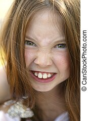 Beautiful teen funny gesture portrait