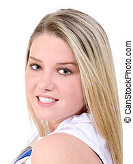 Beautiful teen girl over white background. Shot with the Canon 20D.