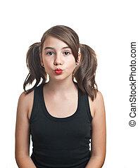 Beautiful teen girl in black top