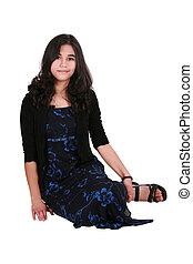 Beautiful teen girl in elegant dress