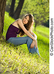beautiful teen girl in forest
