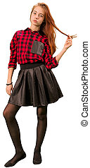 Beautiful teen girl in red and black clothe standing