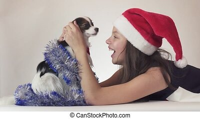 Beautiful teen girl in Santa Claus hat and dog Continental...
