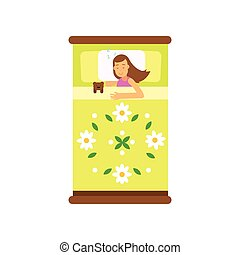 Beautiful teen girl sleeping in her bed with toy, view from above cartoon vector illustration