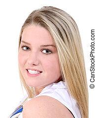 Beautiful Teen Girl - Beautiful teen girl over white...