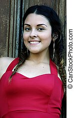 Beautiful Teen Girl Wearing Red Dress