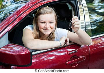 Beautiful Teen Girl with New Car - Beautiful blond teenage...